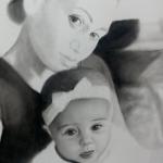 Portret laten tekenen van pasgeboren baby